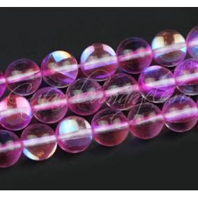 Margele licurici cristal lucios sferic alb roz 10mm