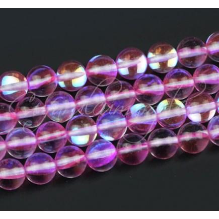 Margele licurici cristal lucios sferic alb roz 8mm