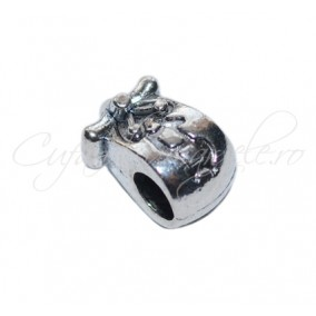 Margele metalice argintii 10x8x8 mm