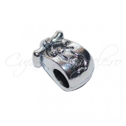 Margele metalice argintii 10x8x8 mm