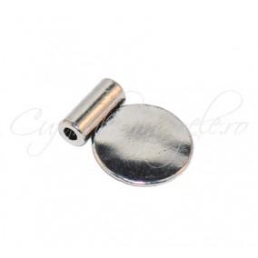 Margele metalice argintii banut 13x11 mm