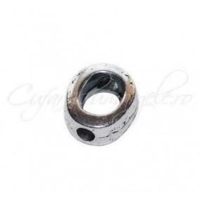 Margele metalice argintii cadru 9x3mm
