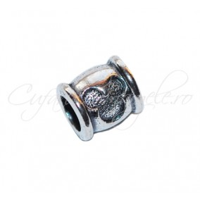 Margele metalice argintii cilindrice Mickey Mouse 10x9 mm