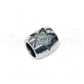 Margele metalice argintii cilindrice stea 5 raze 10x8 mm