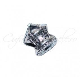Margele metalice argintii coroana 10x10 mm