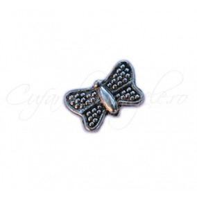 Margele metalice argintii fluture 10x5mm