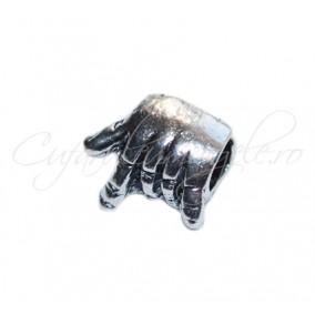 Margele metalice argintii rock on 10x5 mm