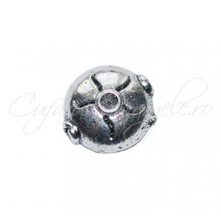 Margele metalice argintii rotunde 10x10x5 mm