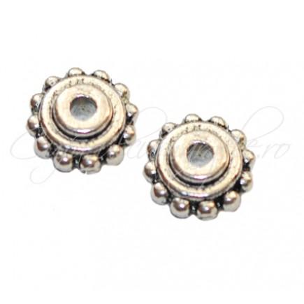 Margele metalice argintii rozeta 8x4 mm
