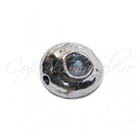 Margele metalice argintii spacer rotund 10x6 mm