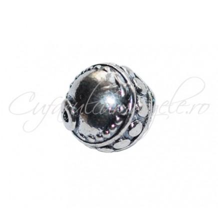 Margele metalice argintii spacer sferic 10 mm
