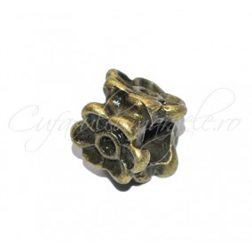 Margele metalice bronz 3 flori 10x8mm