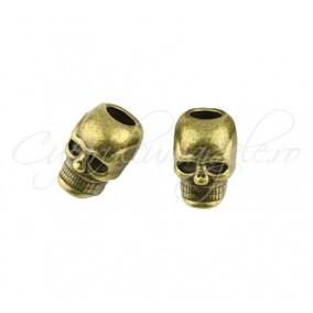 Margele metalice bronz cap de mort 10x8x6 mm
