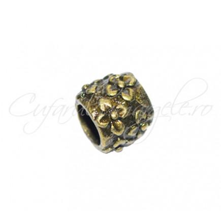 Margele metalice bronz cilindrice flori reliefate 8x8 mm