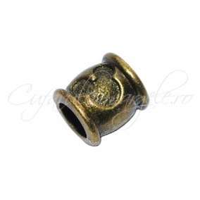 Margele metalice bronz cilindrice Mickey Mouse 10x9 mm