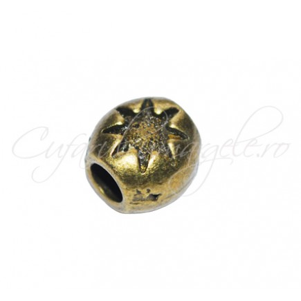 Margele metalice bronz cilindrice stea 8 raze 10x10x8 mm