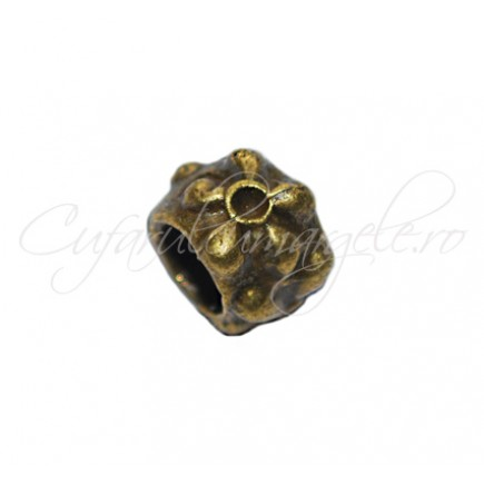Margele metalice bronz cilindrice tip pandora 6x9 mm