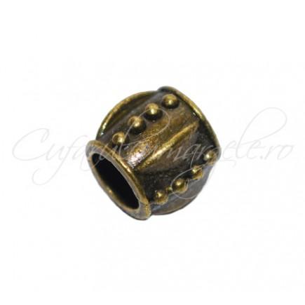 Margele metalice bronz cilindrice tip pandora 8x8 mm