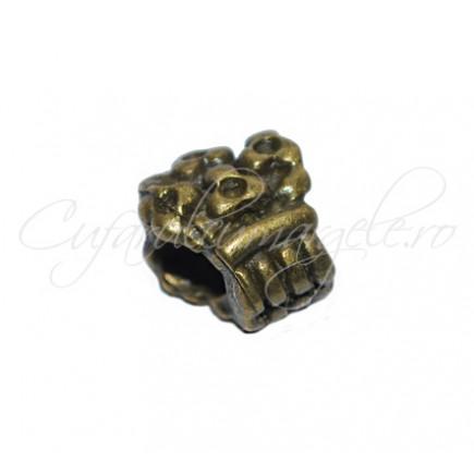Margele metalice bronz cos cu flori 10x8x7 mm