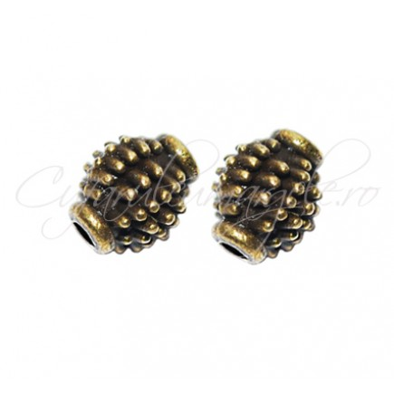 Margele metalice bronz cu tepi 8x6 mm