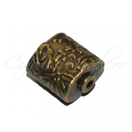 Margele metalice bronz dreptunghi 10x10x6 mm