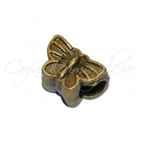 Margele metalice bronz fluture 18x8mm