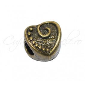 Margele metalice bronz inima 10x10x8 mm