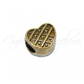 Margele metalice bronz inima 10x8x10 mm