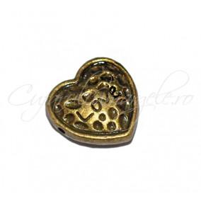 Margele metalice bronz inima love 13x13x2 mm
