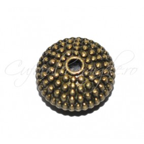 Margele metalice bronz spacer punctat 11x6 mm