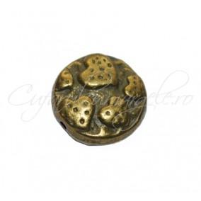 Margele metalice bronz spacer rotund plat cu inimi 15x6 mm