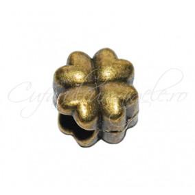 Margele metalice bronz trifoi inima 10x10x8 mm