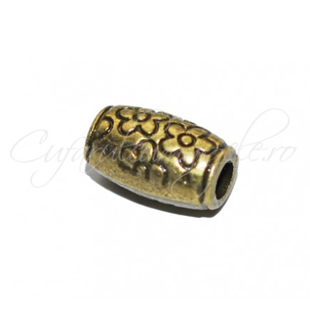 Margele metalice bronz tubulare cu flori 10x6mm
