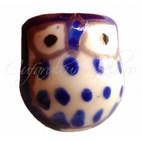 Margele portelan bufnita albastra 17x15x13mm