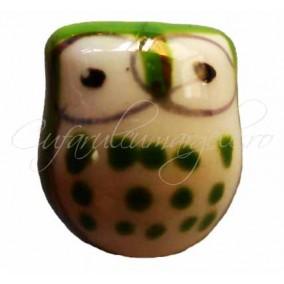 Margele portelan bufnita verde iarba 17x15x13mm