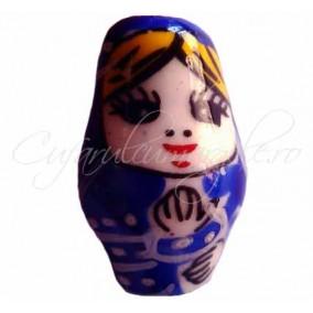 Margele portelan Matrioska albastra 22x14mm