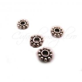 Margele rozeta argintie 5 mm