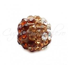 Margele shamballa 3 culori maro 10 mm