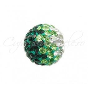 Margele shamballa 3 culori verde 10 mm