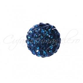 Margele shamballa albastru cerneala 6 mm