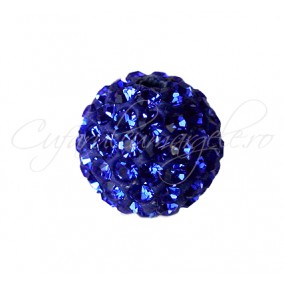 Margele shamballa albastru regal 10 mm