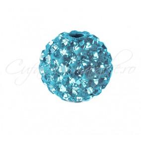 Margele shamballa bleu azur 10 mm