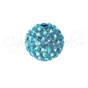 Margele shamballa bleu azur 8 mm