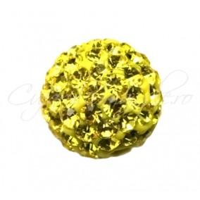 Margele shamballa galben 10 mm