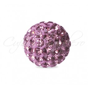 Margele shamballa mov liliac 10 mm