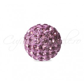 Margele shamballa mov liliac 8 mm