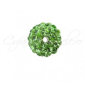 Margele shamballa verde crud 6 mm