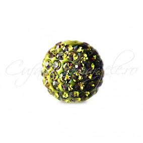 Margele shamballa verde kaki 8 mm