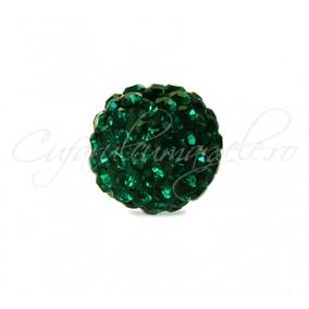 Margele shamballa verde smarald 8 mm