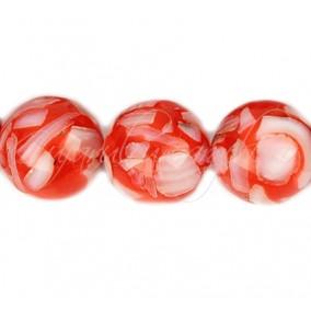 Margele sidef rasina 12 mm rosu